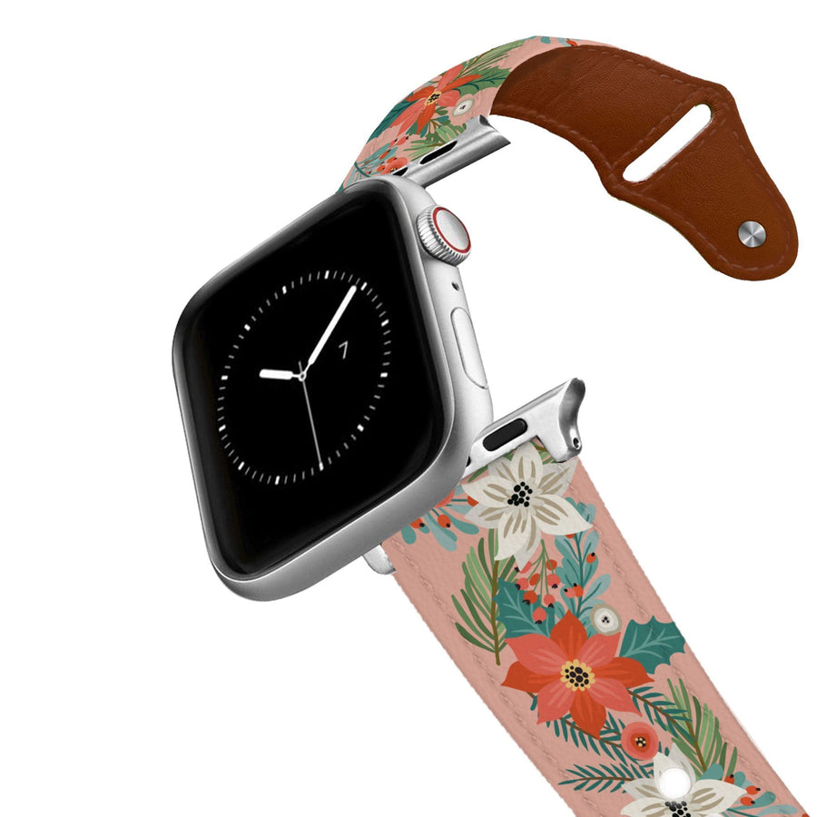 Pretty Poinsettia Leather Apple Watch Band Apple Watch Band - Leather C4 BELTS