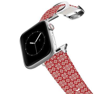 Snowflake Red Knit Apple Watch Band Apple Watch Band C4 BELTS