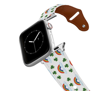 Shamrocks and Rainbows Leather Apple Watch Band Apple Watch Band - Leather C4 BELTS