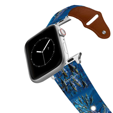 Carey Chen - Art Series Blue Marlin Chase Leather Apple Watch Band Apple Watch Band - Leather C4 BELTS