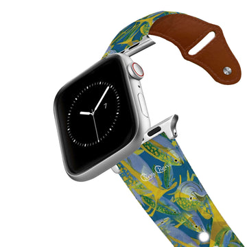 Carey Chen - Art Series Yellowtail Frenzy Leather Apple Watch Band Apple Watch Band - Leather C4 BELTS