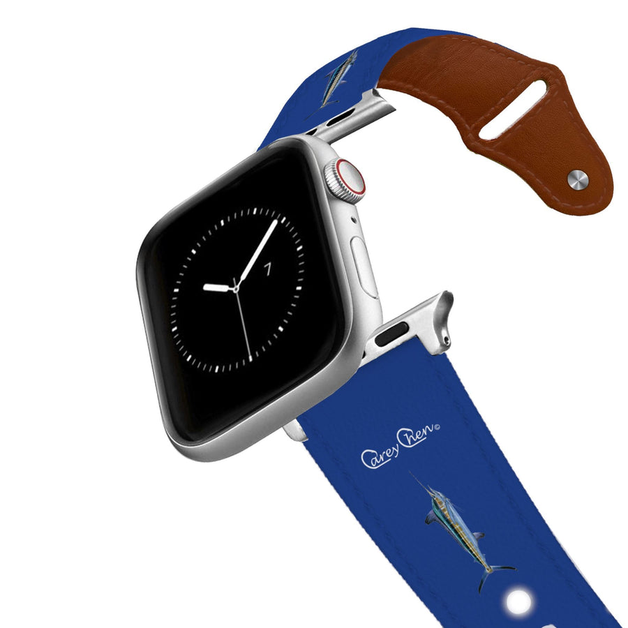 Carey Chen - Bio Series Billfish Grand Slam Navy Leather Apple Watch Band Apple Watch Band - Leather C4 BELTS