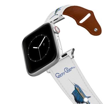 Carey Chen - Bio Series Billfish Grand Slam White Leather Apple Watch Band Apple Watch Band - Leather C4 BELTS