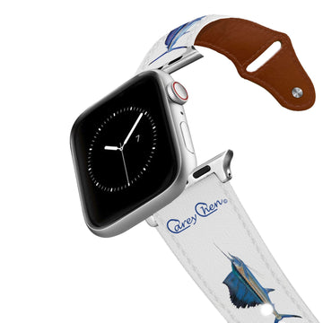 Carey Chen - Bio Series Deep Sea White Leather Apple Watch Band Apple Watch Band - Leather C4 BELTS