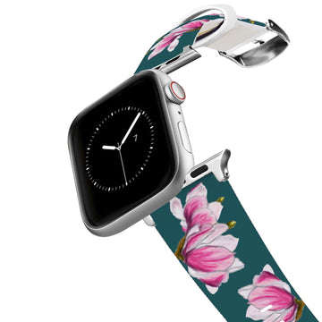 Decidedly Equestrian - Pink Floral Petrol Apple Watch Band Apple Watch Band C4 BELTS