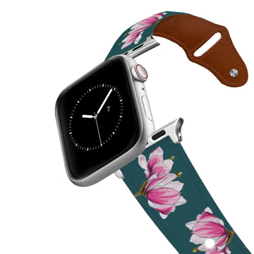 Decidedly Equestrian - Pink Floral Petrol Leather Apple Watch Band Apple Watch Band - Leather C4 BELTS