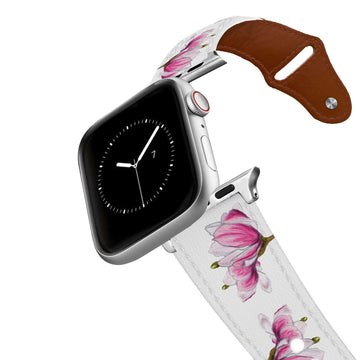 Decidedly Equestrian - Pink Floral White Leather Apple Watch Band Apple Watch Band - Leather C4 BELTS