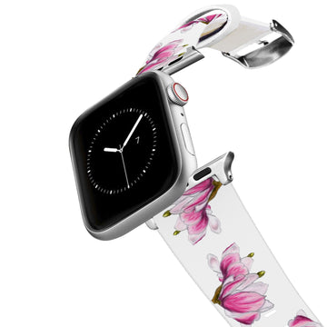 Decidedly Equestrian - Pink Floral White Apple Watch Band Apple Watch Band C4 BELTS