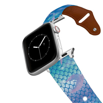 Mermaid Life - Hypnotic Scales Blue Leather Apple Watch Band Apple Watch Band - Leather C4 BELTS