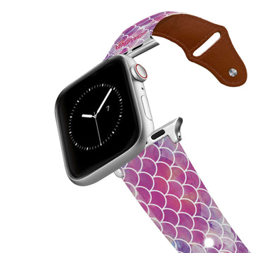 Mermaid Life - Hypnotic Scales Pink Leather Apple Watch Band Apple Watch Band - Leather C4 BELTS