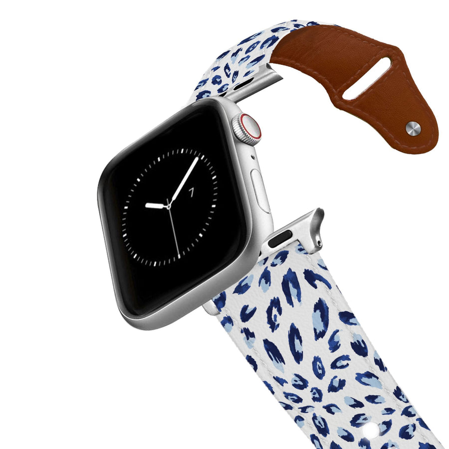 SanSoleil™ - Bobcat Navy Leather Apple Watch Band Apple Watch Band - Leather C4 BELTS