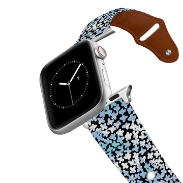 SanSoleil™ - Forget Me Not Blue Leather Apple Watch Band Apple Watch Band - Leather C4 BELTS