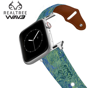 Realtree - Wave Contrast Leather Apple Watch Band Apple Watch Band - Leather C4 BELTS