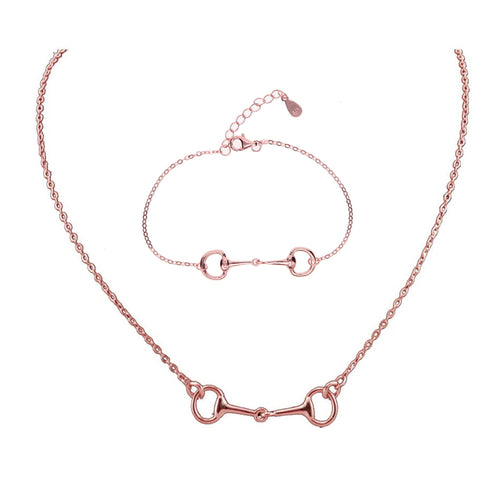 Rose Gold Snaffle Bit Necklace & Bracelet Pack