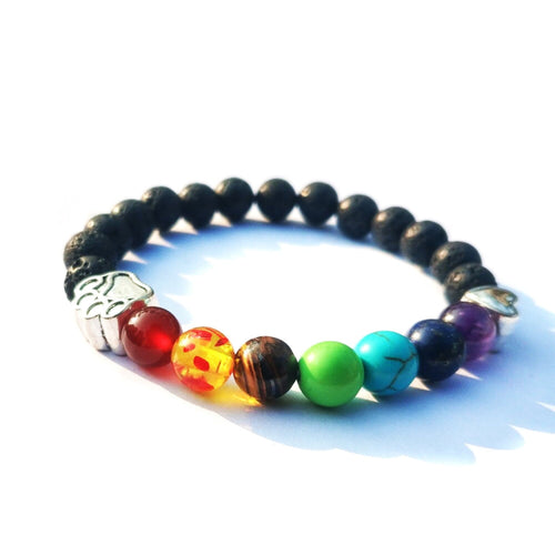 Rainbow Bridge Lava Rock Paw Bracelet
