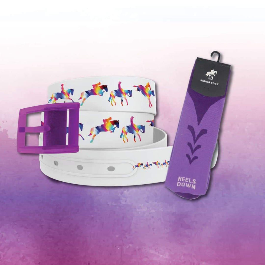 EQ Geometric Belt & Purple Riding Sock Bundle Product-Bundle C4 BELTS