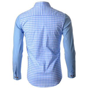 Gingham light blue checker woven paid slim fit | men's shirt - Stylezme.com