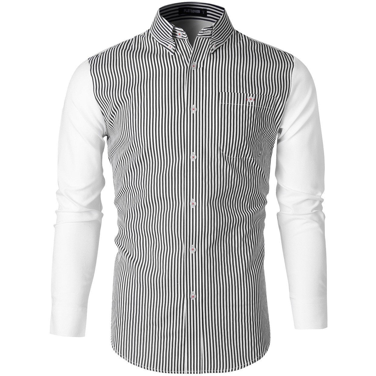 Narrow Striped Button Down Casual Shirt - Stylezme.com
