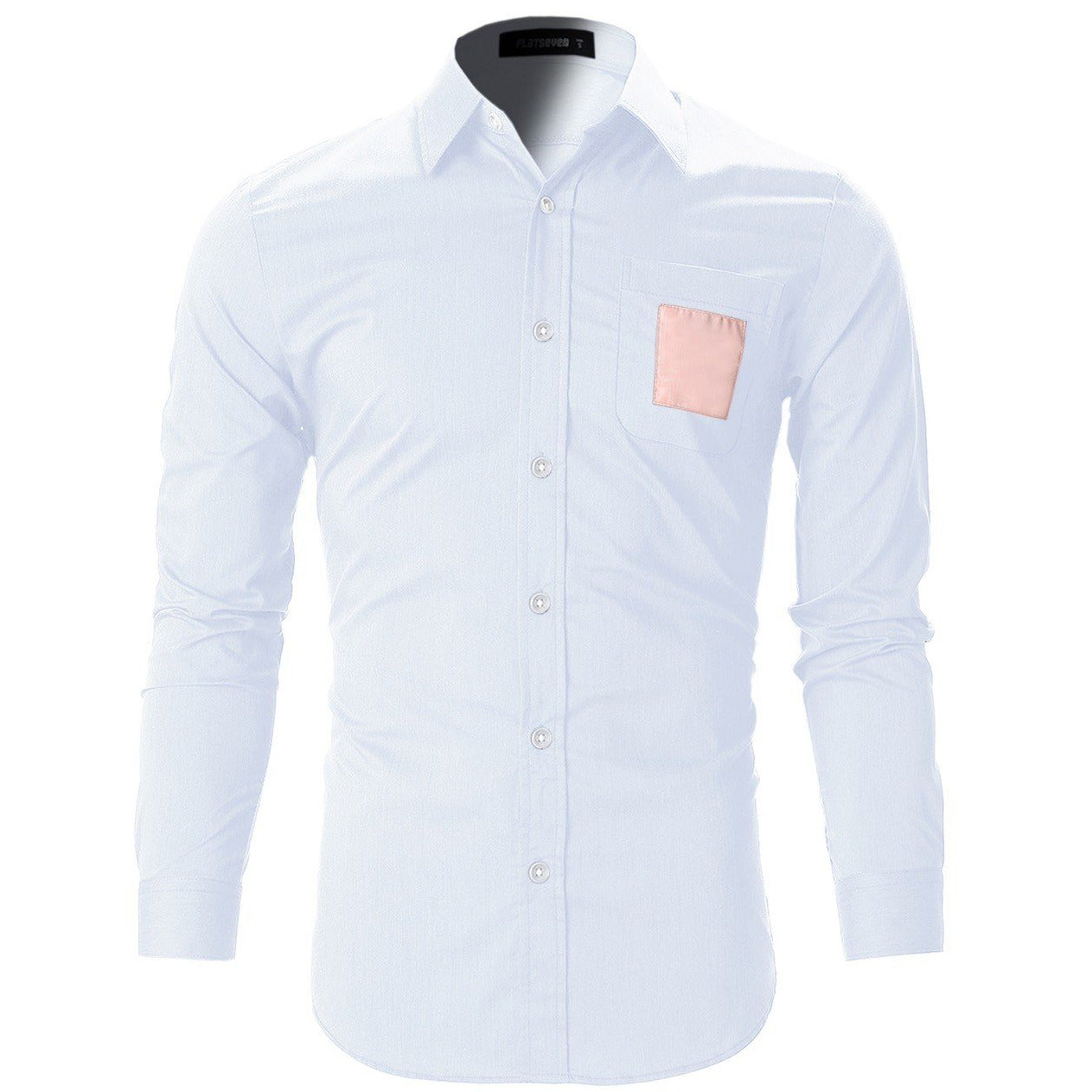 Square Patched Pocket Casual Dress Shirts