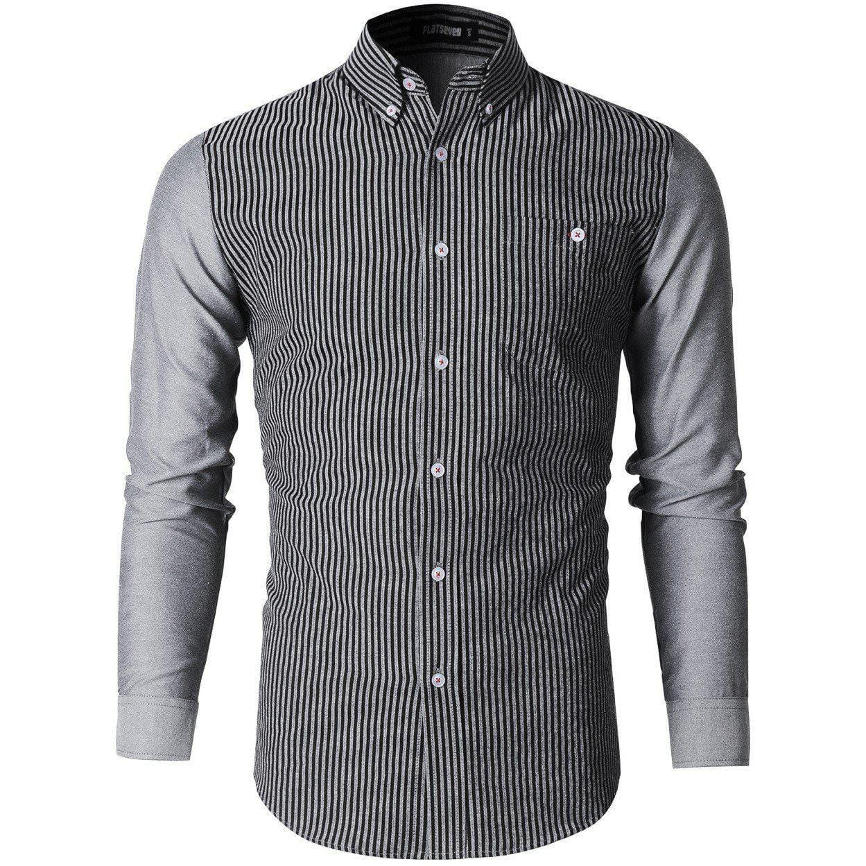 Gray Striped button down Casual shirt | men's shirt