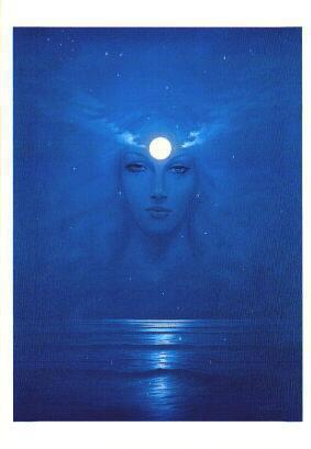 Goddess on dark water
