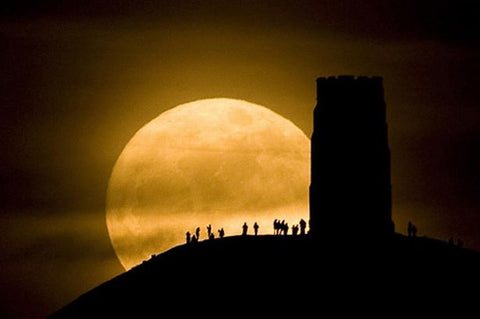 The Glastonbury Tor During A 2015 Super Moon