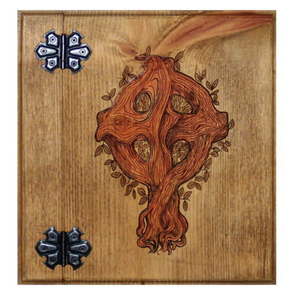 Wooden Book of Shadows featuring a Celtic Cross and it's beautiful colors from natural stain made by Project Fey, perfect for any Wiccan, Pagan, Witch or Witchcraft supply