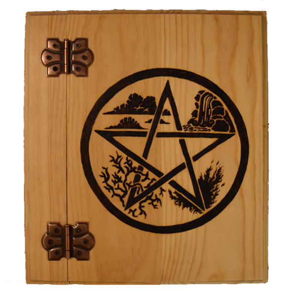 Project Fey created wooden Book of Shadows with elemental pentagram design. www.ProjectFey.com