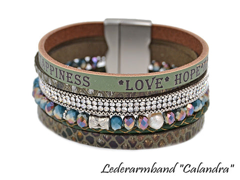 Damen Echtleder Armband-LOVE-HOPE-HAPPINESS