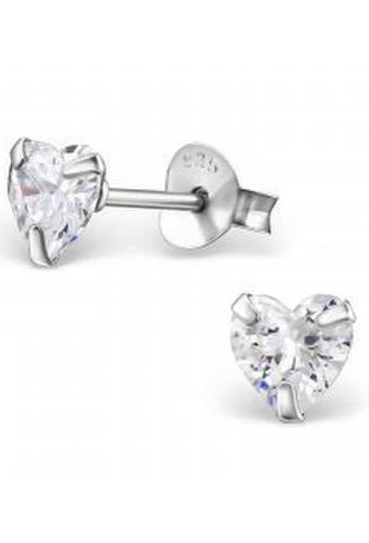 925 Sterling Silver Cubic Zirconia Crystal Birthstone Heart Shaped Stud Earrings - April