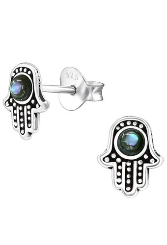 925 Sterling Silver Hamsa Abalone Stud Earrings