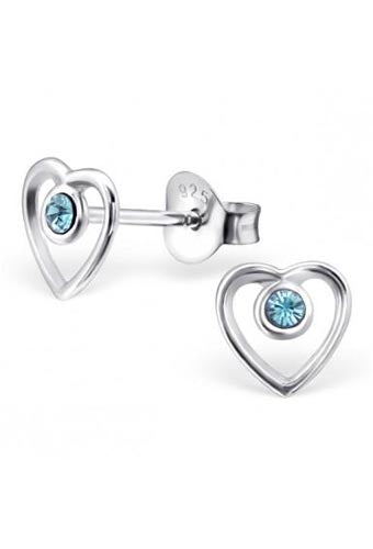 925 Sterling Silver Swarovski® Aquamarine Birthstone Heart Shaped Stud Earrings - March