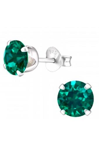 925 Sterling Silver Swarovski® Emerald Birthstone Earrings - May