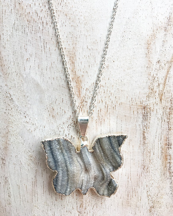 Agate Druze Butterfly Silver Edge Pendant on 925 Sterling Silver Chain