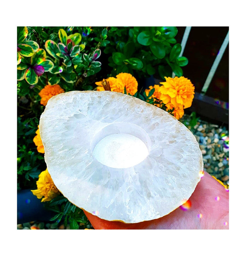 Natural Agate Slab Candle Holder #2
