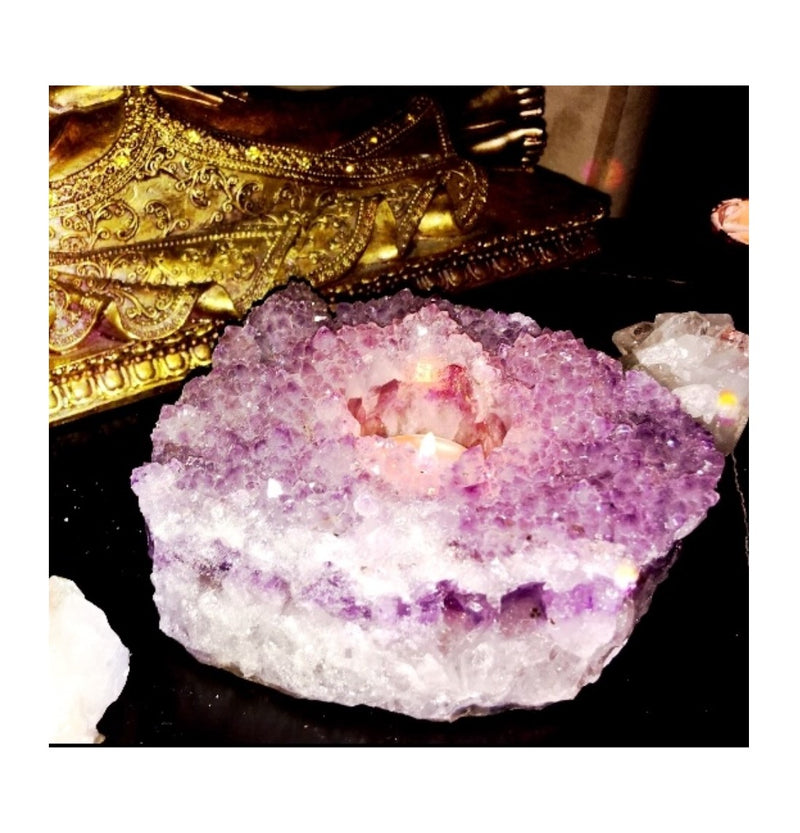 Amethyst Cluster Candle Holder - Large #3