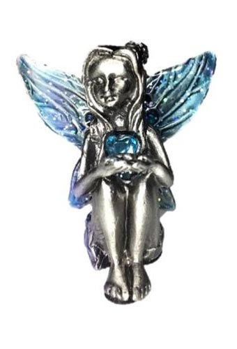 Blue Winged Aquamarine Birthstone Fairy Ornament - March