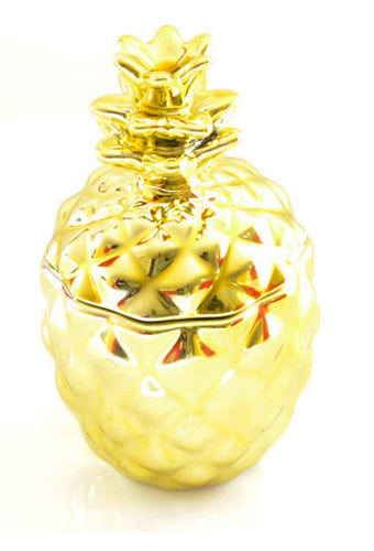 Pineapple & Rosemary Scented Gold Pineapple Shaped Candle