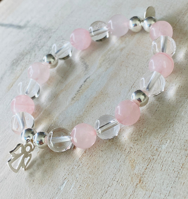 Rose Quartz & Clear Quartz with Sterling Silver beads and Angel Charm Bracelet