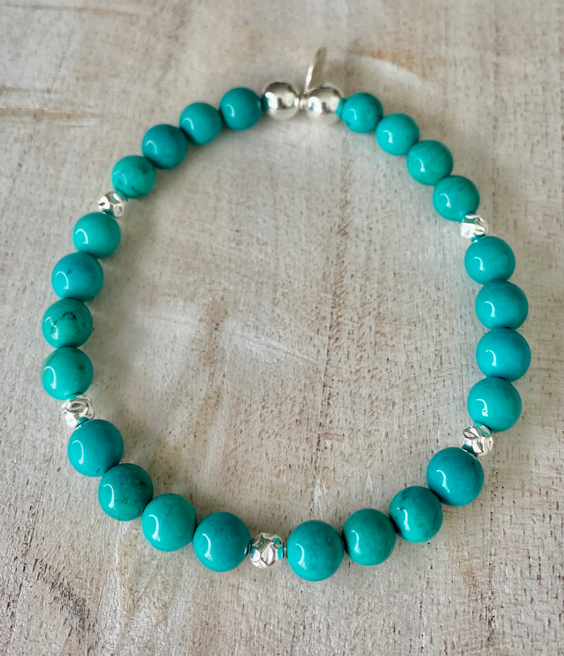 Turquoise and Sterling Silver Crystal Bracelet