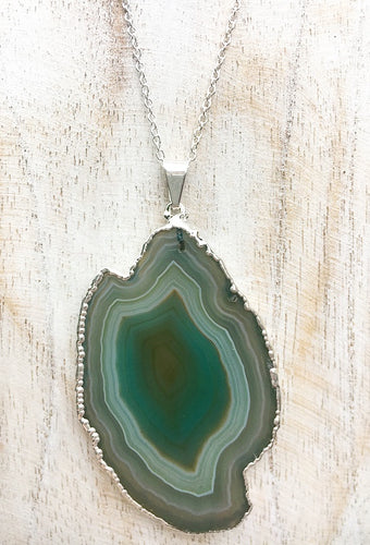 Green Agate Slice on 925 Sterling Silver Necklace #1
