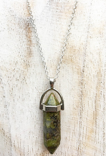 Unakite Pendant on 925 Sterling Silver Chain