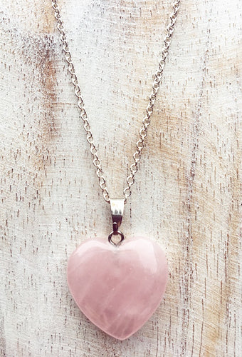 Rose Quartz Heart Pendant on 925 Sterling Silver Chain