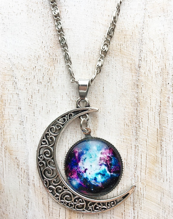 Starburst Galaxy & Moon Necklace