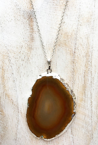 Brown Agate Slice on 925 Sterling Silver Chain #2