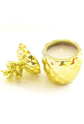 Pineapple & Sage Scented Gold Pineapple Shaped Candle