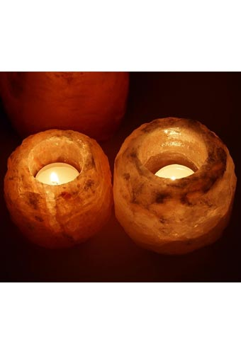 Rough Himalayan Salt Candle Holder