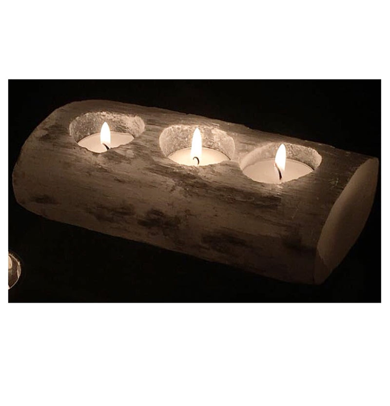 Selenite Log Three Hole Candle Holder