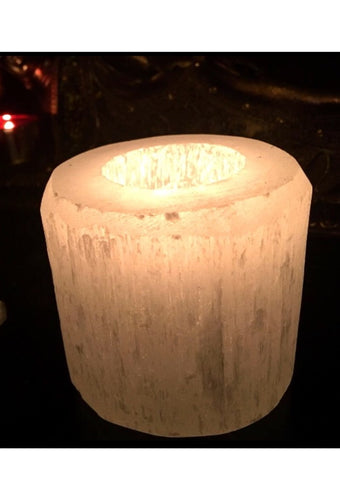 Round Selenite Candle Holder