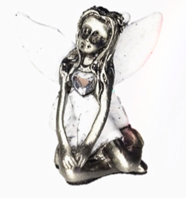 White Winged Crystal Birthstone Fairy Ornament - April